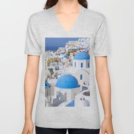 Blue domes of churches in Oia village, Santorini island, Greece Unisex V-Neck
