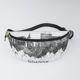 Gdansk Poland Skyline BW Fanny Pack