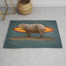 Capybara Surfer Rug
