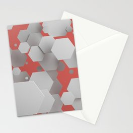 White hexagons on red Stationery Cards