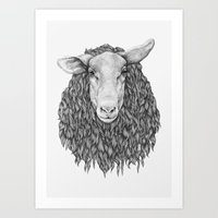 sheep Art Prints featuring Sheep by Thea Nordal