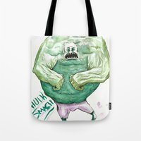 hulk Tote Bags featuring Hulk by Crooked Octopus
