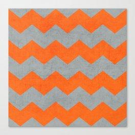 chevron- gray and orange Canvas Print