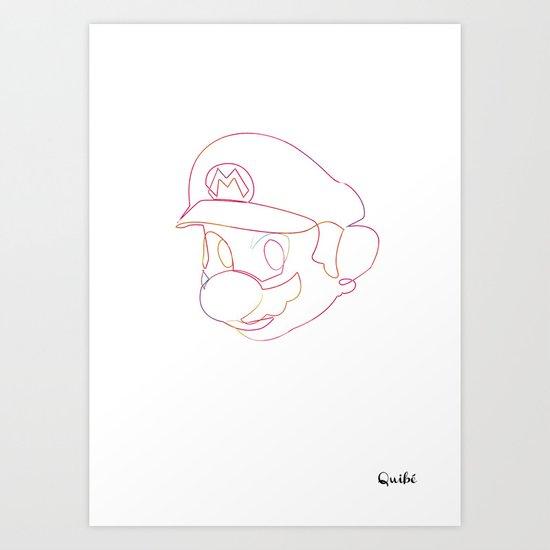 One line Supermario Art Print