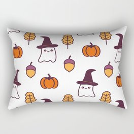 cute cartoon halloween pattern background with ghosts, pumpkins, leaves and acorns Rectangular Pillow