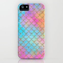 Pastel Mermaid Scales Gold Sparkle Glitter iPhone Case