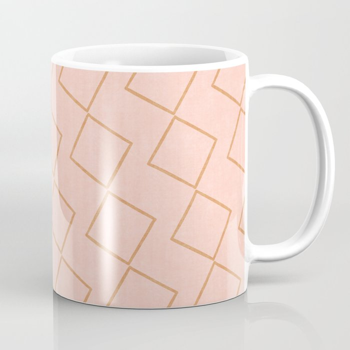 Tilting Diamonds in Peach Coffee Mug