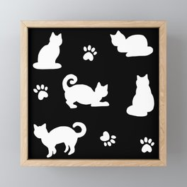 White Cats and Paw Prints Pattern on Black Framed Mini Art Print