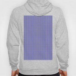 Small Navy Blue and White Gingham Check Plaid Pattern Hoody