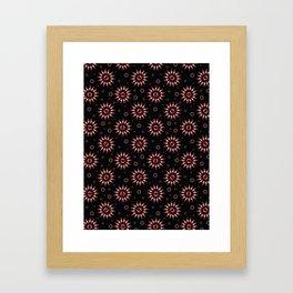 Black Bohemian Sunburst Floral Vector Pattern Seamless, Hand Drawn Stylized Framed Art Print