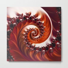 Beautiful Crimson Passion - The Heart of the Rose Fractal Metal Print