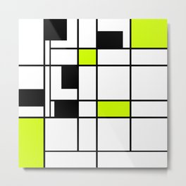 Abstract geometric modern shapes black white green neon colors Metal Print