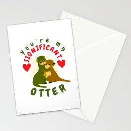 Romantic Otter Holding Hands Animal Drawing Otter Lovers Heart Stationery Cards