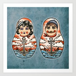 Sailor and his lady (russian dolls) Art Print