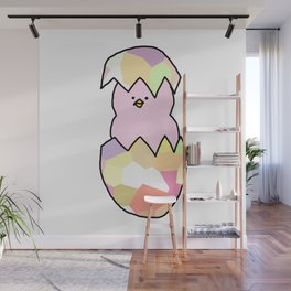 Cute Pink Baby Chick - a hatching chicken for spring and Easter Wall Mural