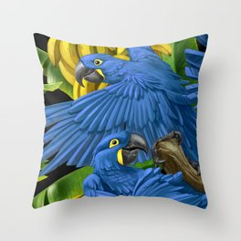 Hyacinth Macaws and bananas Stravaganza (black background). Throw Pillow