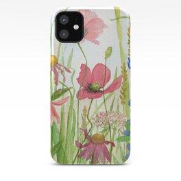 Watercolor Garden Flower Poppies Lupine Coneflower Wildflower iPhone Case