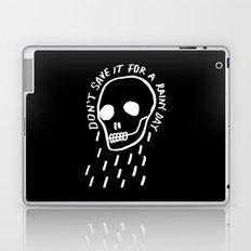 rainy day minimal skull hand lettering (dark) Laptop & iPad Skin