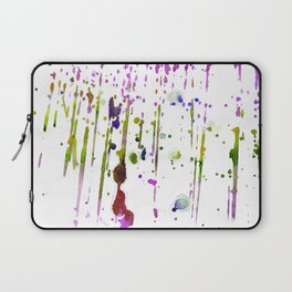 Abstract lime green neon pink purple watercolor paint splatters Laptop Sleeve