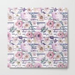 Violet blush pink lilac watercolor floral stripes Metal Print