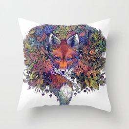 Hiding fox rainbow Throw Pillow
