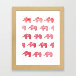 Elephant red Framed Art Print