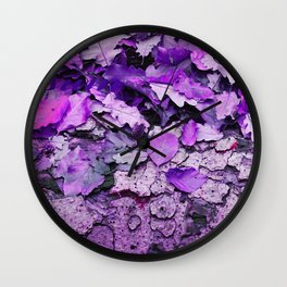Leaves and bark in purple - the little beauties of nature Wall Clock