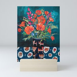 California Poppy and Wildflower Bouquet on Emerald with Tigers Still Life Painting Mini Art Print