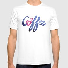 Coffee Lover Typography MEDIUM White Mens Fitted Tee