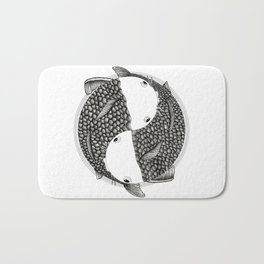 Pisces - Fish Koi - Japanese Tattoo Style (black and white) Bath Mat