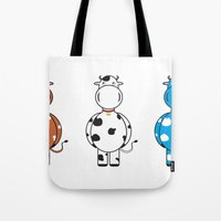 cows Tote Bags featuring COWS by thestalewhale