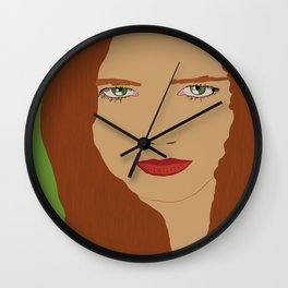 Red hair and Green eyes  Wall Clock