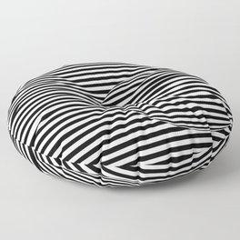 Black and White Stripes and Sphere Bubble Digital Illustration - Artwork Floor Pillow