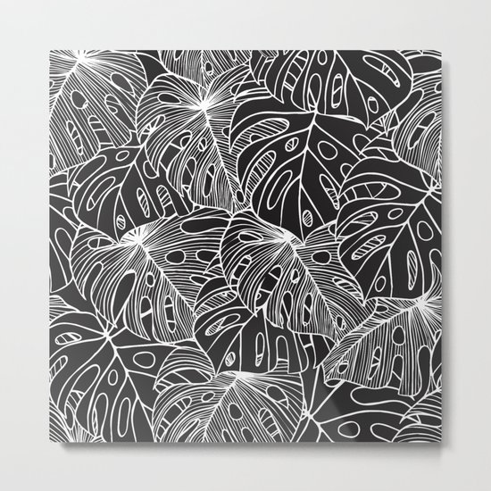 B&W Philodendron Metal Print