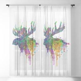 Moose Head Watercolor Silhouette Sheer Curtain