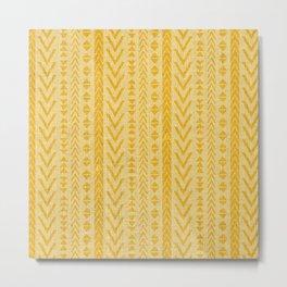 Boho, Linen Prints, Striped, Arrow, Pattern, Mustard Yellow Metal Print