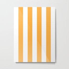 Vertical Stripes - White and Pastel Orange Metal Print