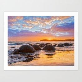 Moeraki Boulders, Otago, New Zealand at Sunrise Art Print