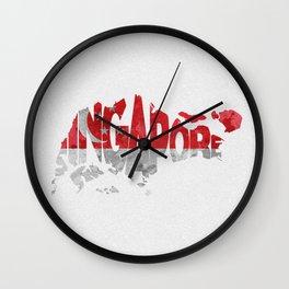 Singapore Typographic Flag / Map Art Wall Clock
