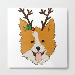 Christmas Corgi Metal Print