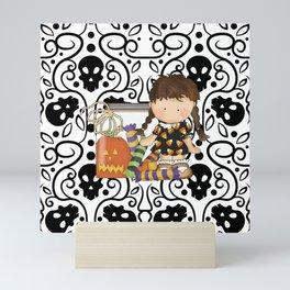 Halloween Skull Girl Mini Art Print