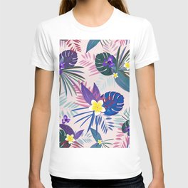 Tropical Palm and Monstera Leaves Pattern T-shirt