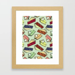 Easy As Pie - cute hand drawn illustrations of pie on sage green Framed Art Print