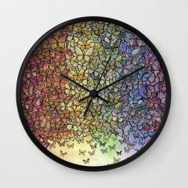 rainbow of butterflies aflutter Wall Clock