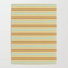 Autumn orange yellow mint green geometrical stripes Poster