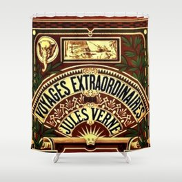 Jules Verne Voyages Extraordinaire Red Lithographic Print by Jeanpaul Ferro Shower Curtain