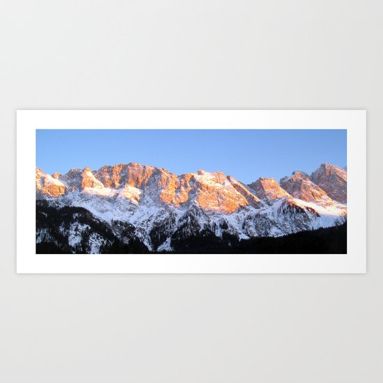 zugspitze mountain panorama II, germany. Art Print
