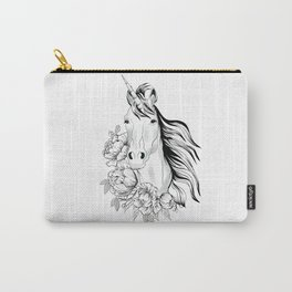 Unicorn,black and white floral illustration Carry-All Pouch
