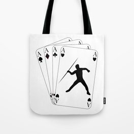 Javelin Throw on Poker Cards 4 Aces for Javelin Thrower Tote Bag