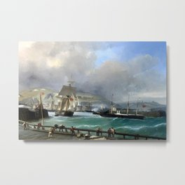 A Breezy Day Off Dover Harbour seascape nautical painting by Julius Hintz Metal Print